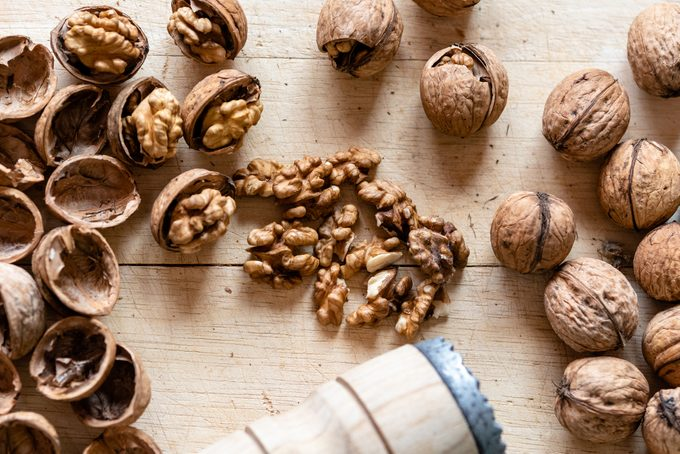 High Angle View Of Walnuts On Table