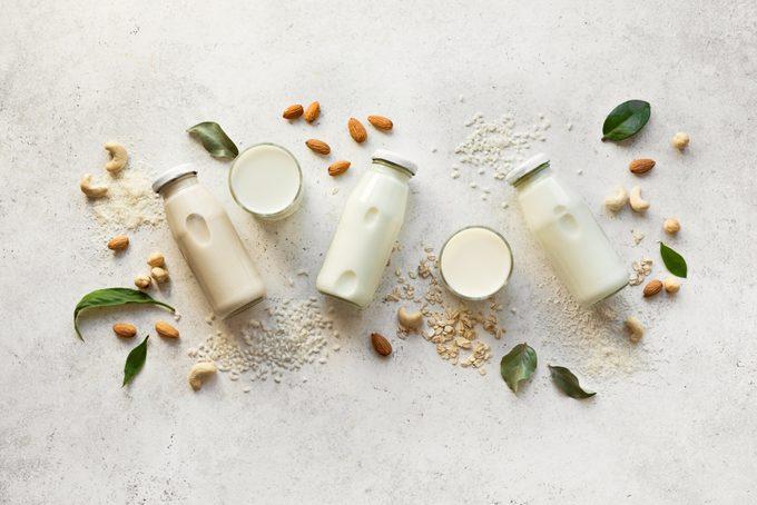 cashew milk and almond milk lay flat
