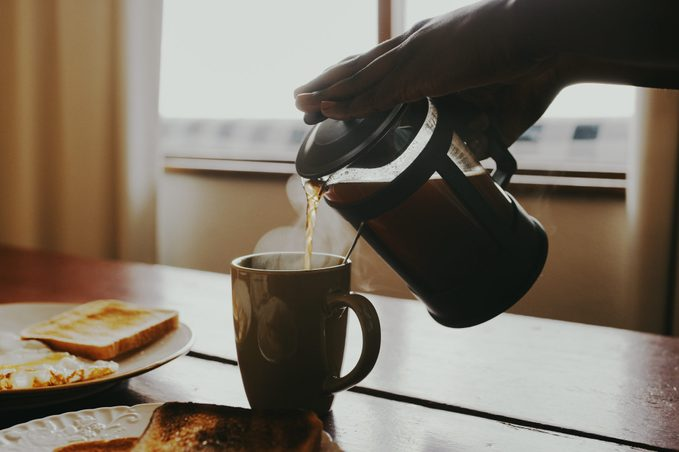 pouring cup of coffee