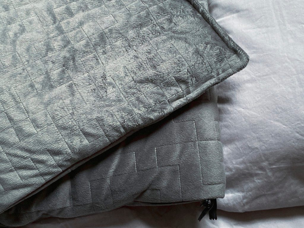 gray weighted blanket shot from above