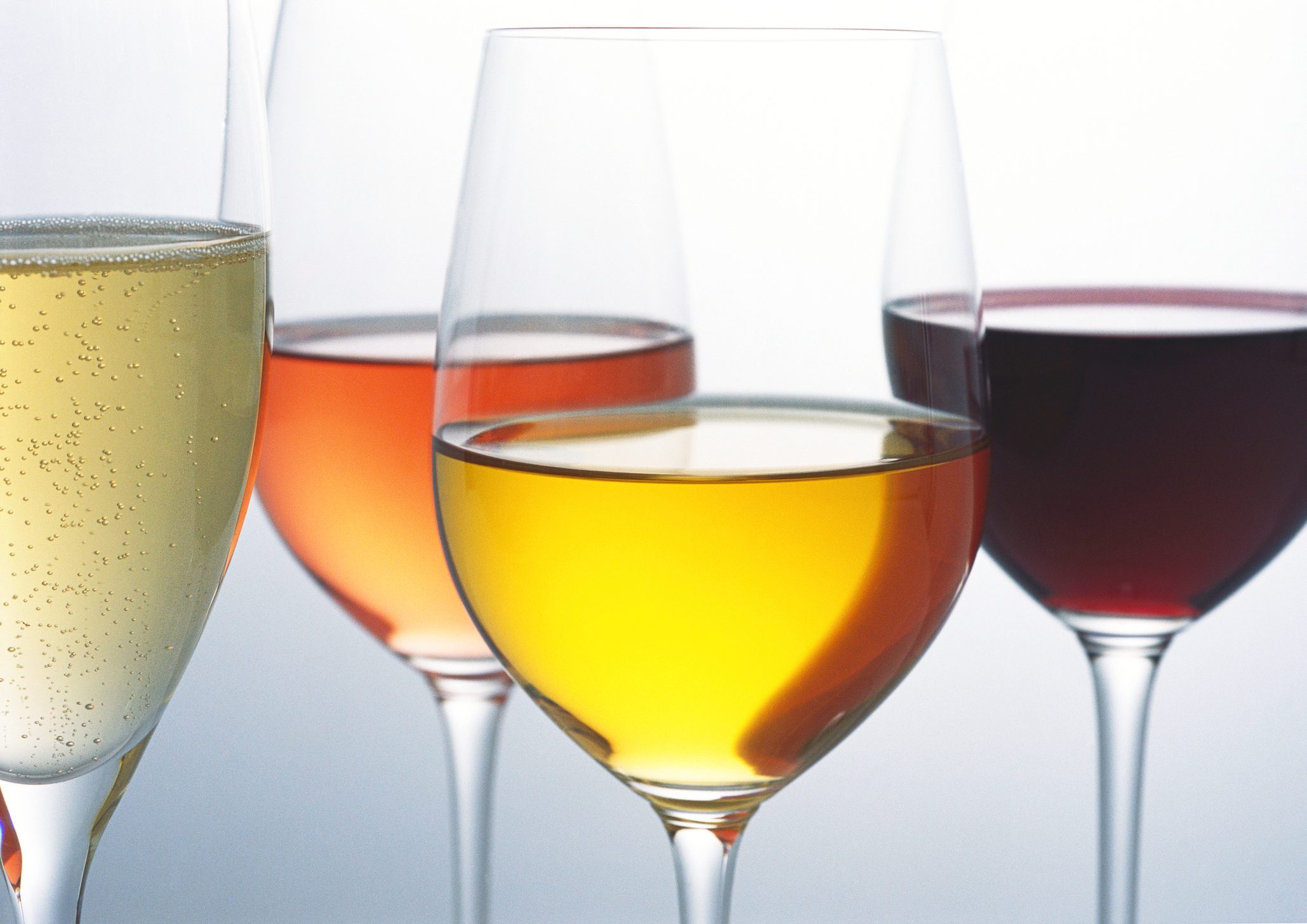 Glasses of various wines