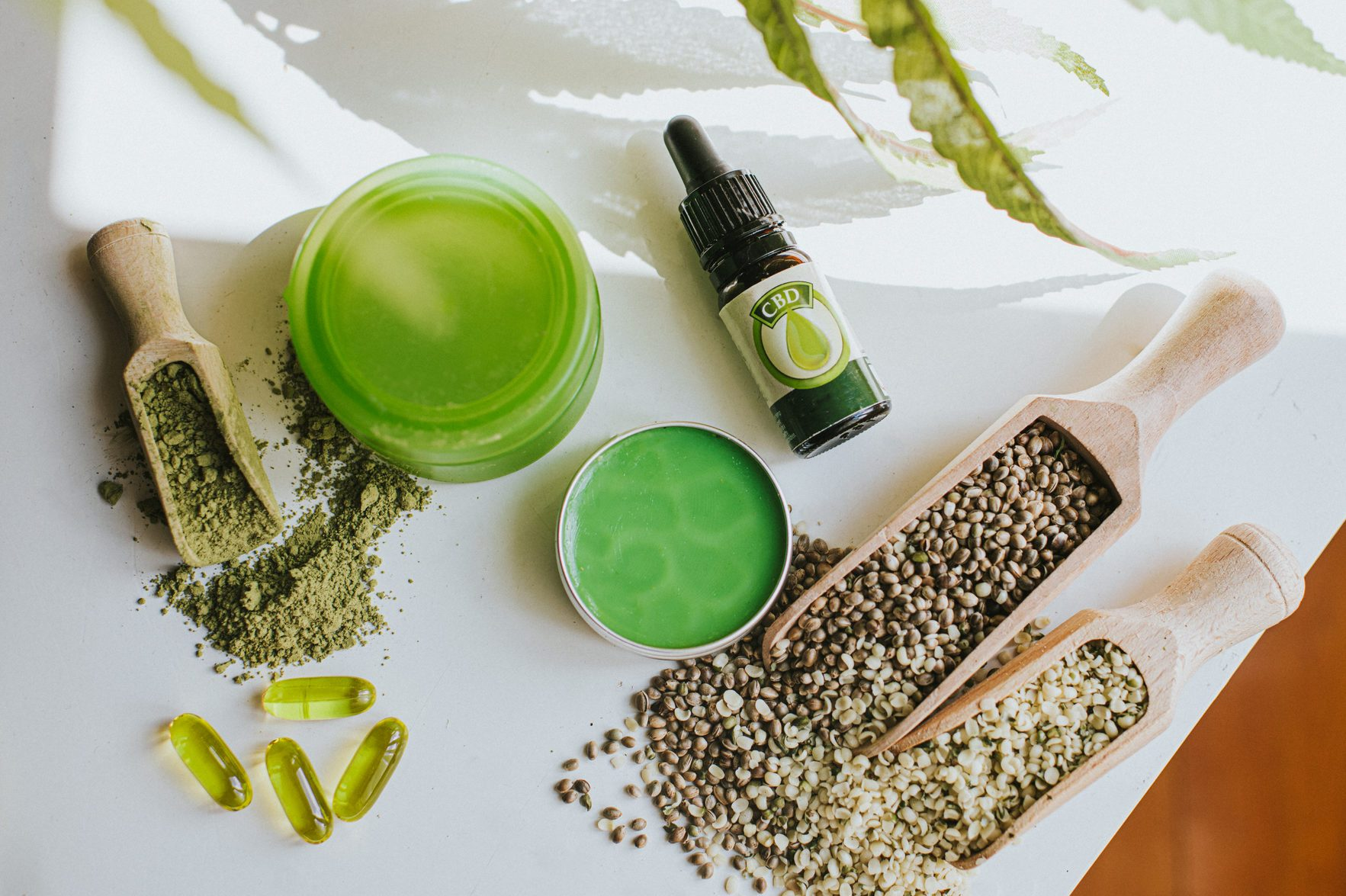Still-Life Selection of CBD products, conveying vast possibilities of cannabis as an Ingredient in an Alternative therapies, Lifestyle and treatments.