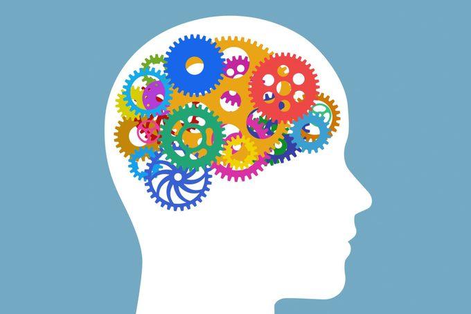 illustration of brain with cogwheels