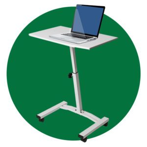 Seville Classics Height Adjustable Sitting Mobile Laptop Desk Cart
