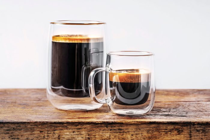 espresso and coffee on wood table