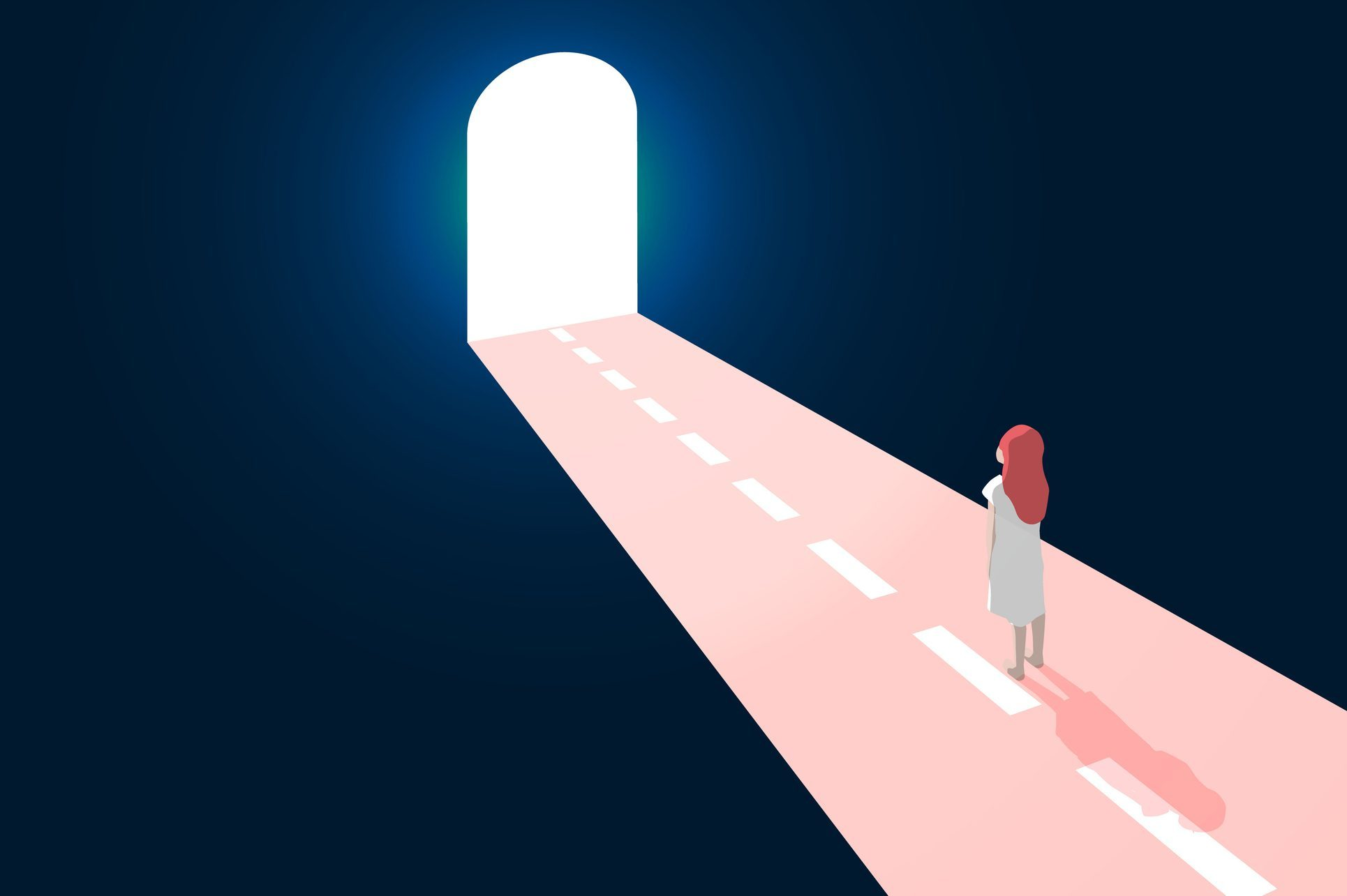 illustration of woman looking at light at end of tunnel