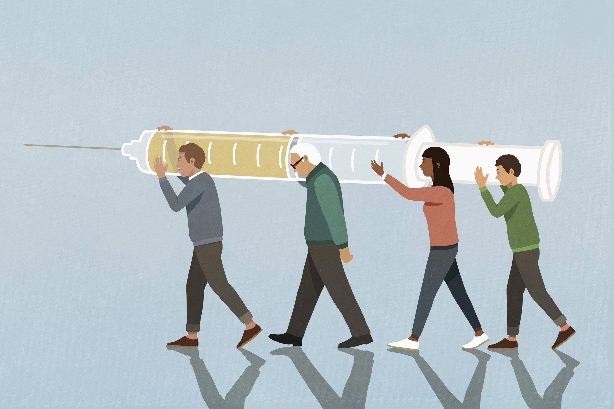 Community carrying large vaccination syringe