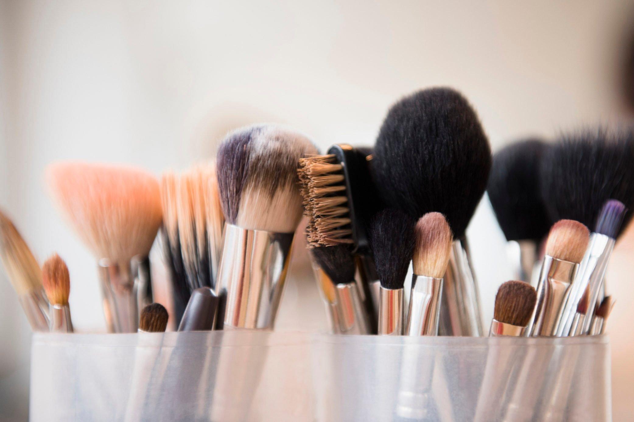 Close up of makeup brushes
