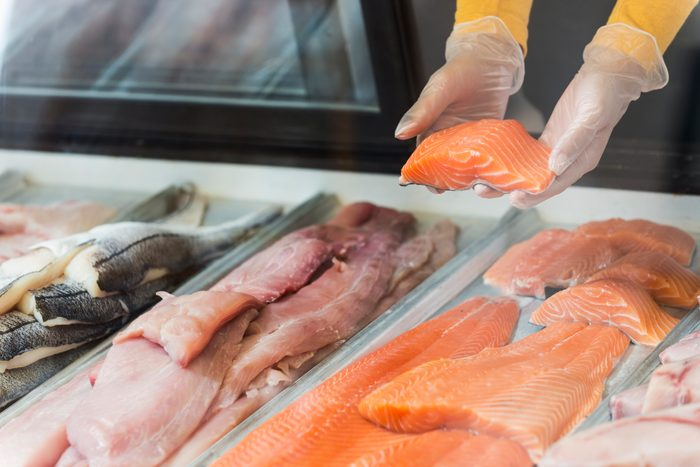 Fresh fish fillets for sale in seafood store