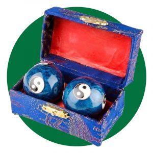 Xmhf Cloisonne Yin Yang Chinese Meditation Baoding Healthy Exercise Ball Blue 2pcs