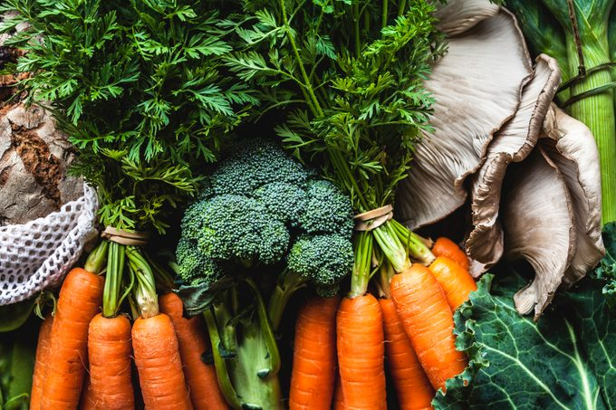 Market Vegetables and Bunches of Carrots