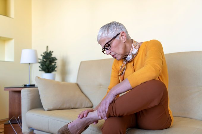 A Senior Woman Has Chronic Problems with Pain in her Ankle.