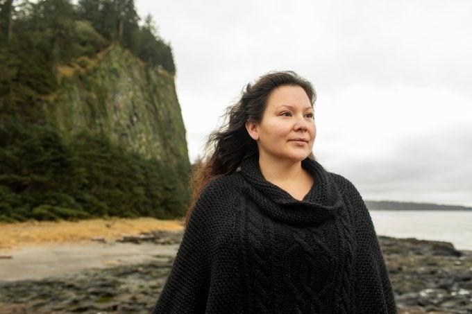 Indigenous Woman/Mother Hiking/ Exploring in Haida Gwaii