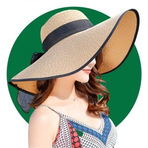 Womens Wide Brim Sun Protection Straw Hat Foldable Floppy Hat Summer Uv Protection Beach Cap