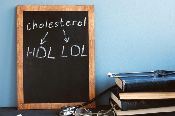 HDL vs LDL cholesterol written on chalkboard in doctor's office