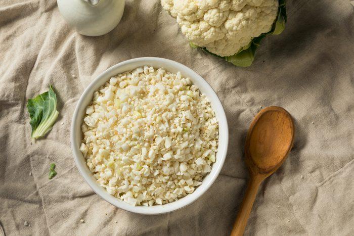 Homemade Organic Raw Cauliflower Rice