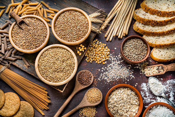 overhead view of a variety of whole grains