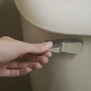 Close-up view of hand about to flush handle of tan toilet