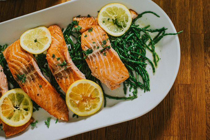 Salmon on a serving plate on a table