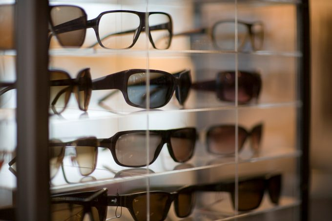 Sunglasses in case for sale at store